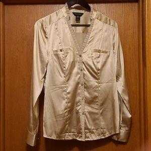 WHBM Gold button down shirt